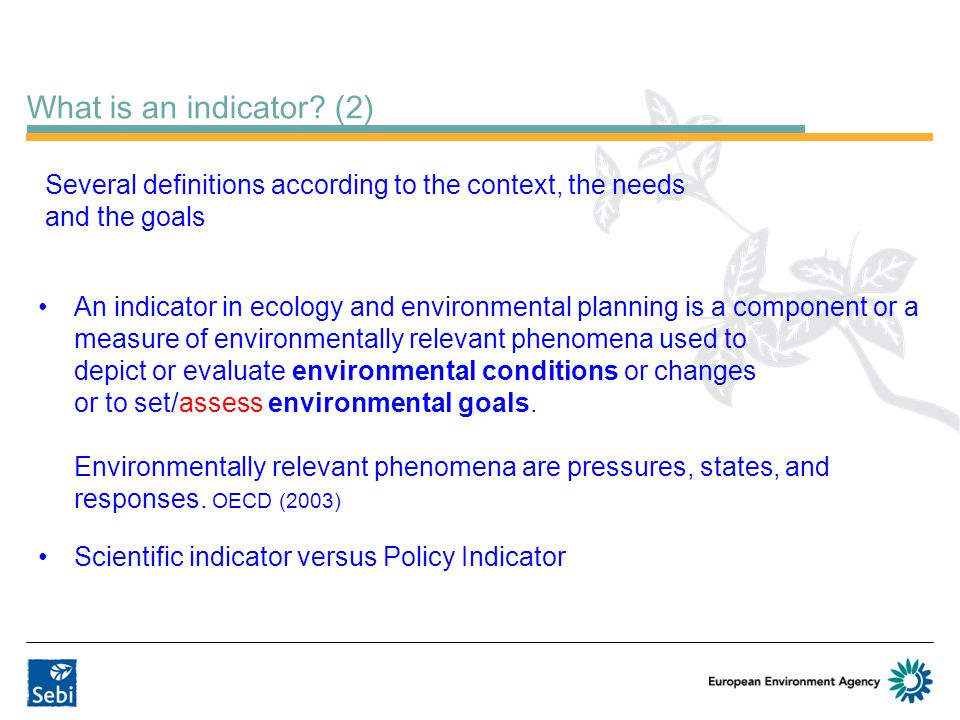 What is an indicator (2) Several definitions according to the context, the needs and the goals.