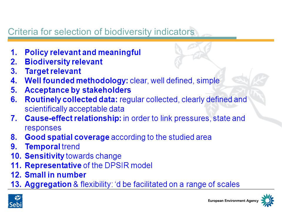 Criteria for selection of biodiversity indicators