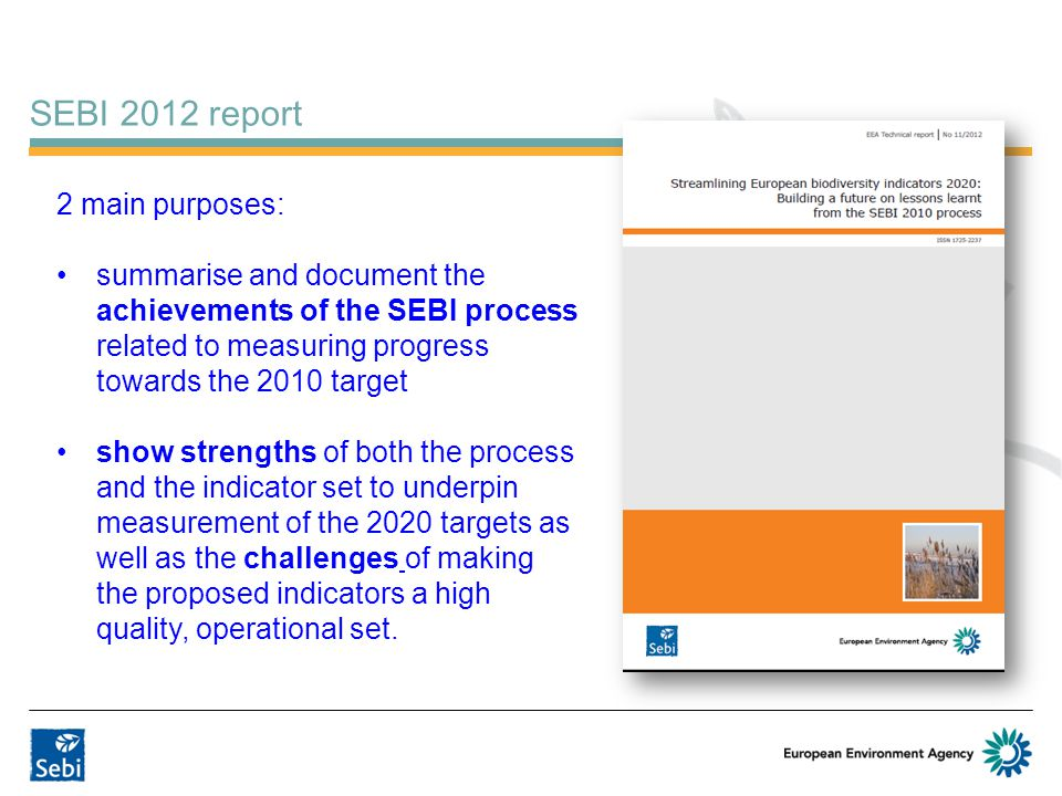 SEBI 2012 report 2 main purposes: