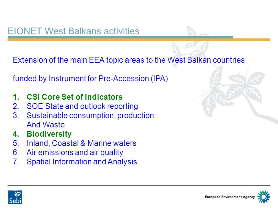 EIONET West Balkans activities