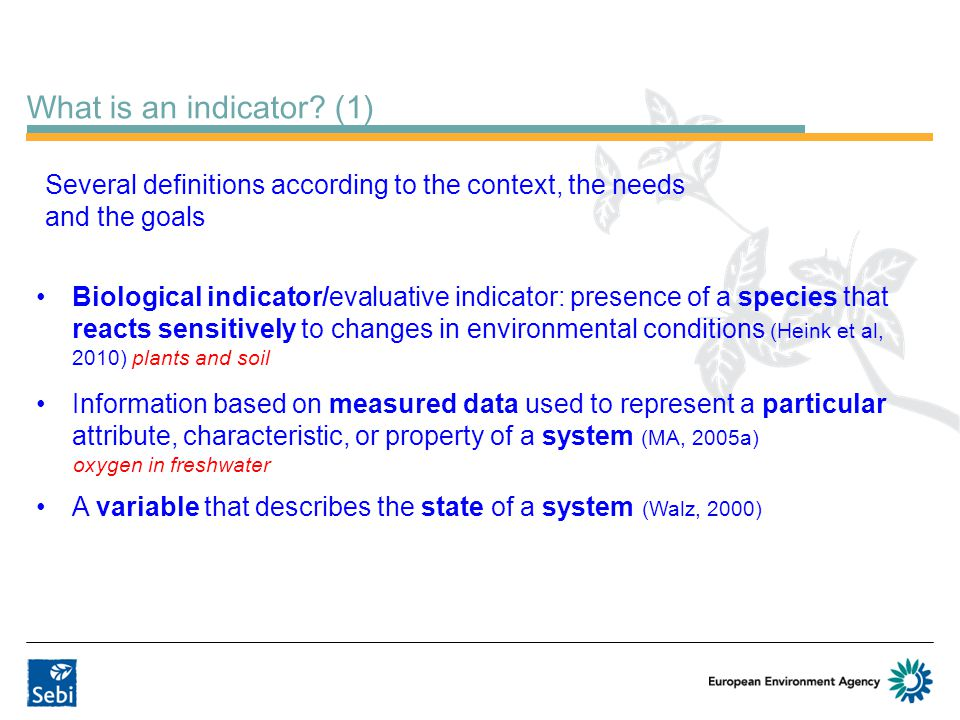 What is an indicator (1) Several definitions according to the context, the needs and the goals.