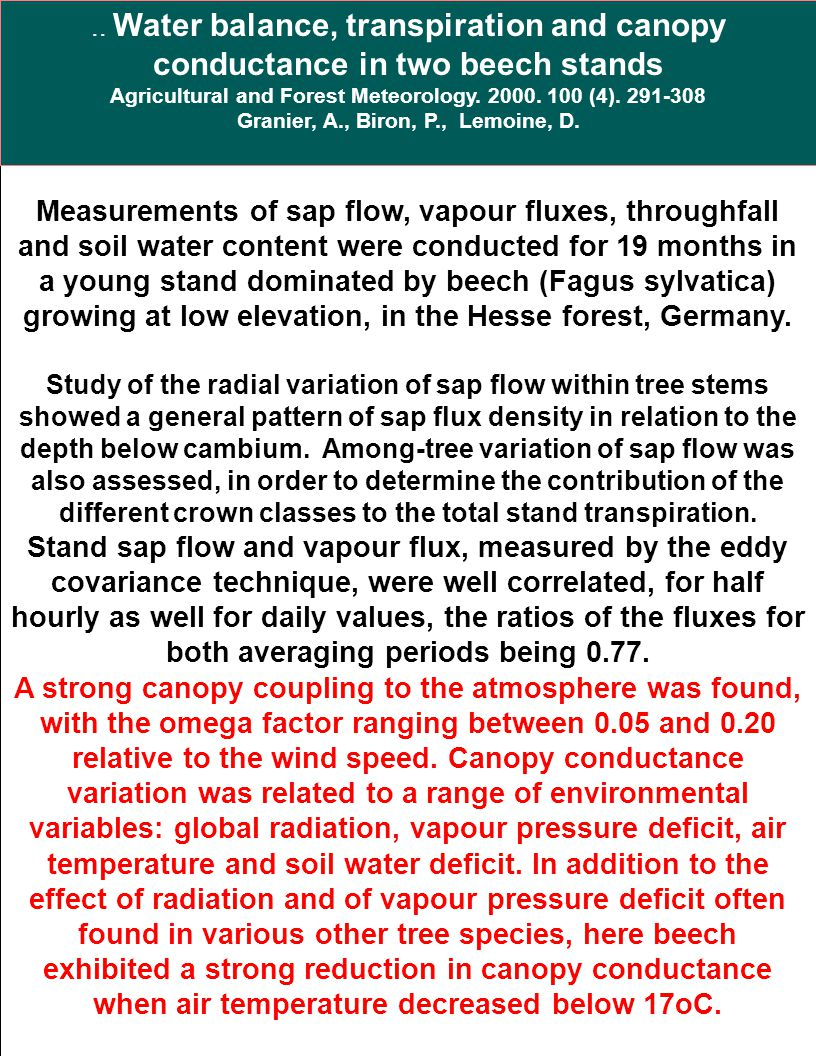 .. Water balance, transpiration and canopy conductance in two beech stands