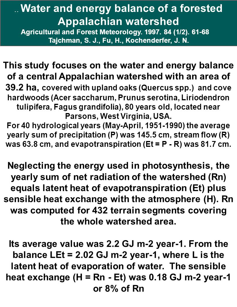 .. Water and energy balance of a forested Appalachian watershed