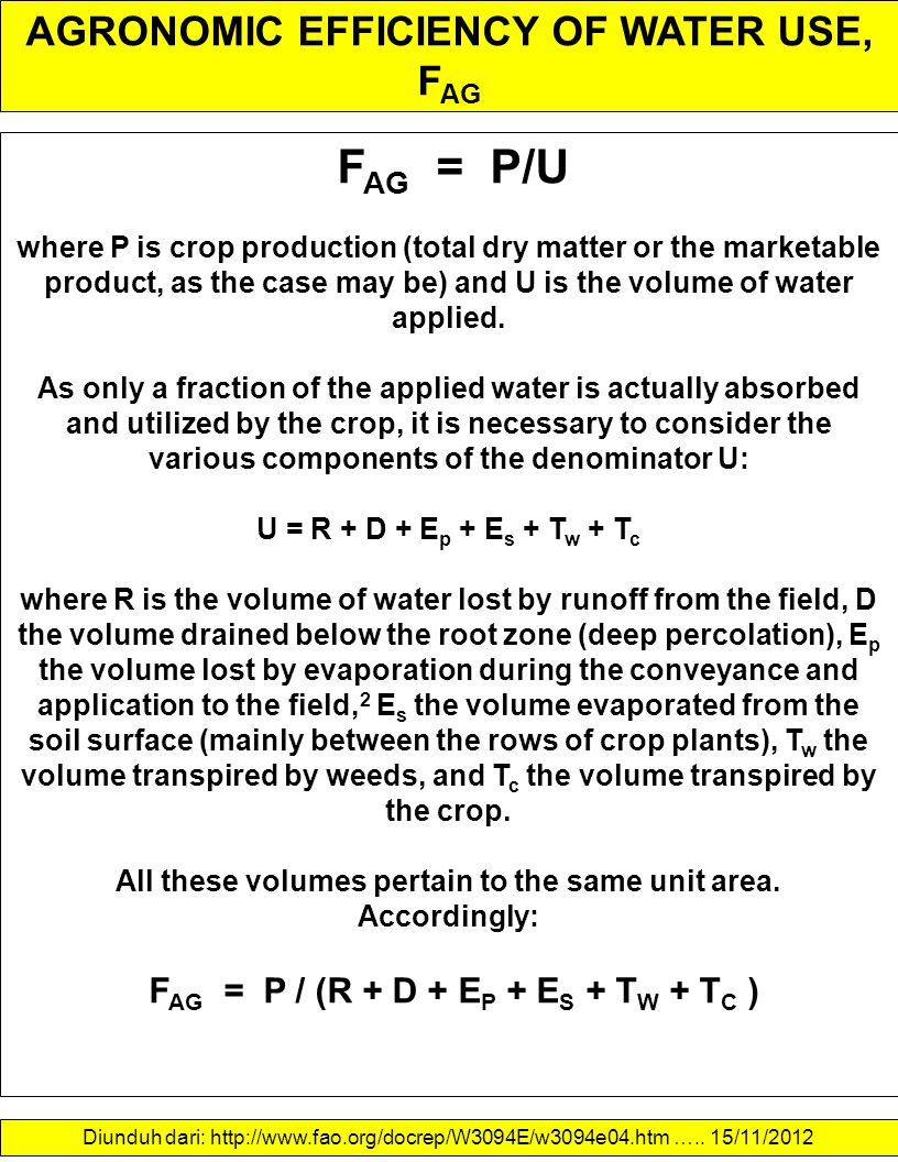 AGRONOMIC EFFICIENCY OF WATER USE, FAG
