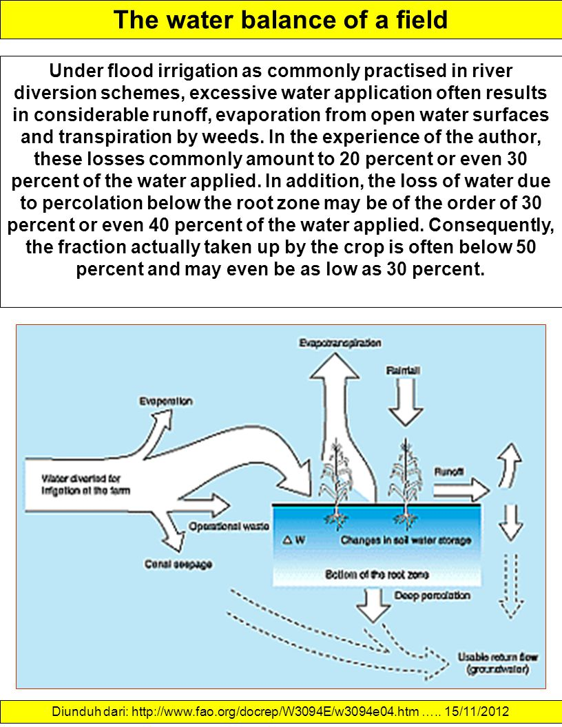 The water balance of a field