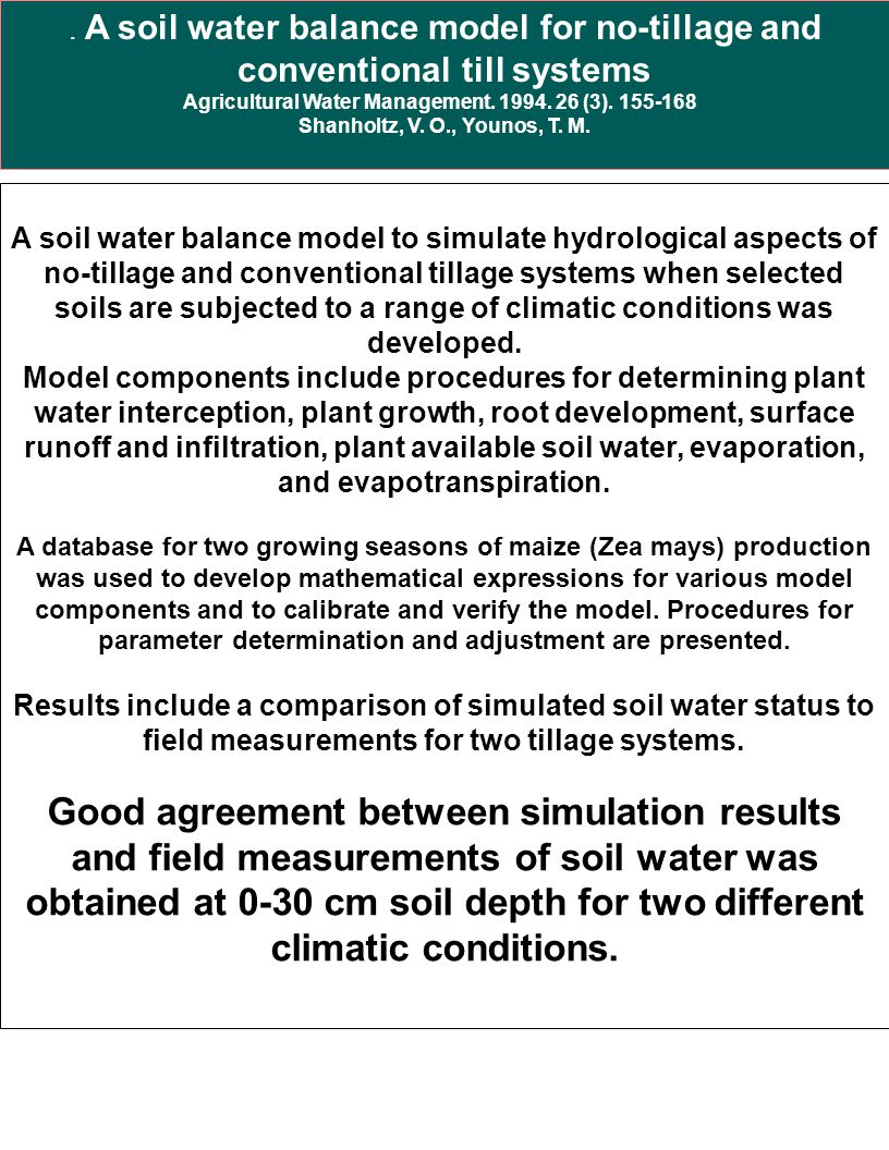 Agricultural Water Management. 1994. 26 (3). 155-168