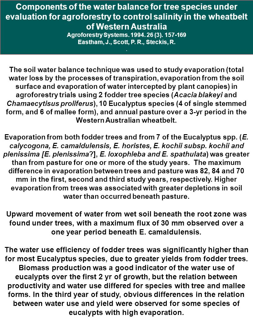 Components of the water balance for tree species under evaluation for agroforestry to control salinity in the wheatbelt of Western Australia