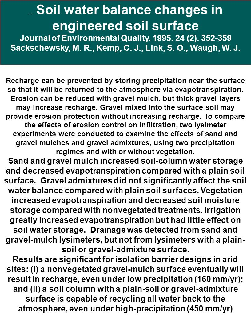 .. Soil water balance changes in engineered soil surface