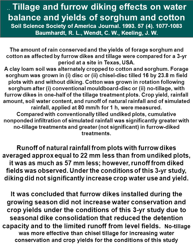 .. Tillage and furrow diking effects on water balance and yields of sorghum and cotton