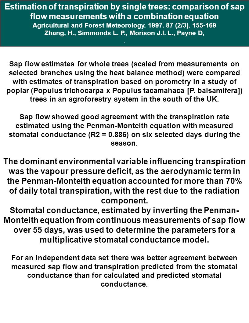 Estimation of transpiration by single trees: comparison of sap flow measurements with a combination equation