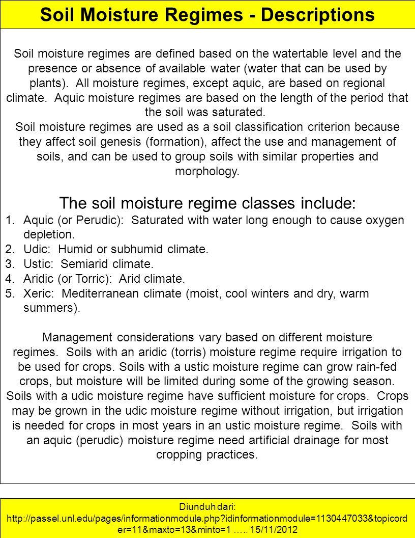 Soil Moisture Regimes - Descriptions