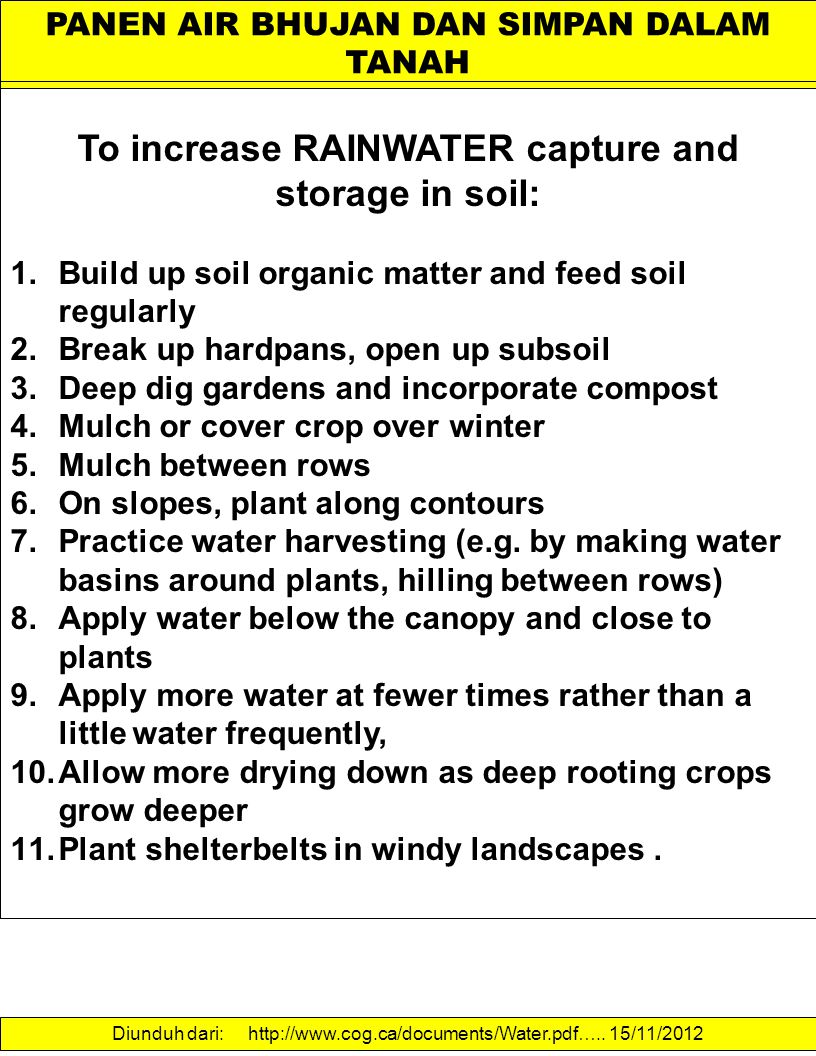To increase RAINWATER capture and storage in soil: