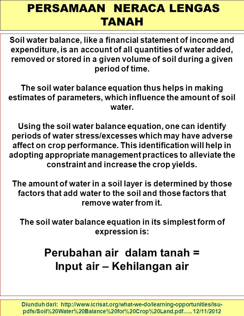 Perubahan air dalam tanah = Input air – Kehilangan air