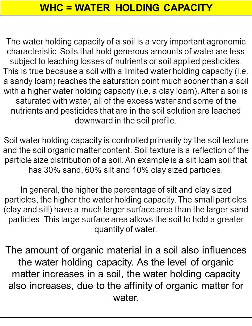 WHC = WATER HOLDING CAPACITY