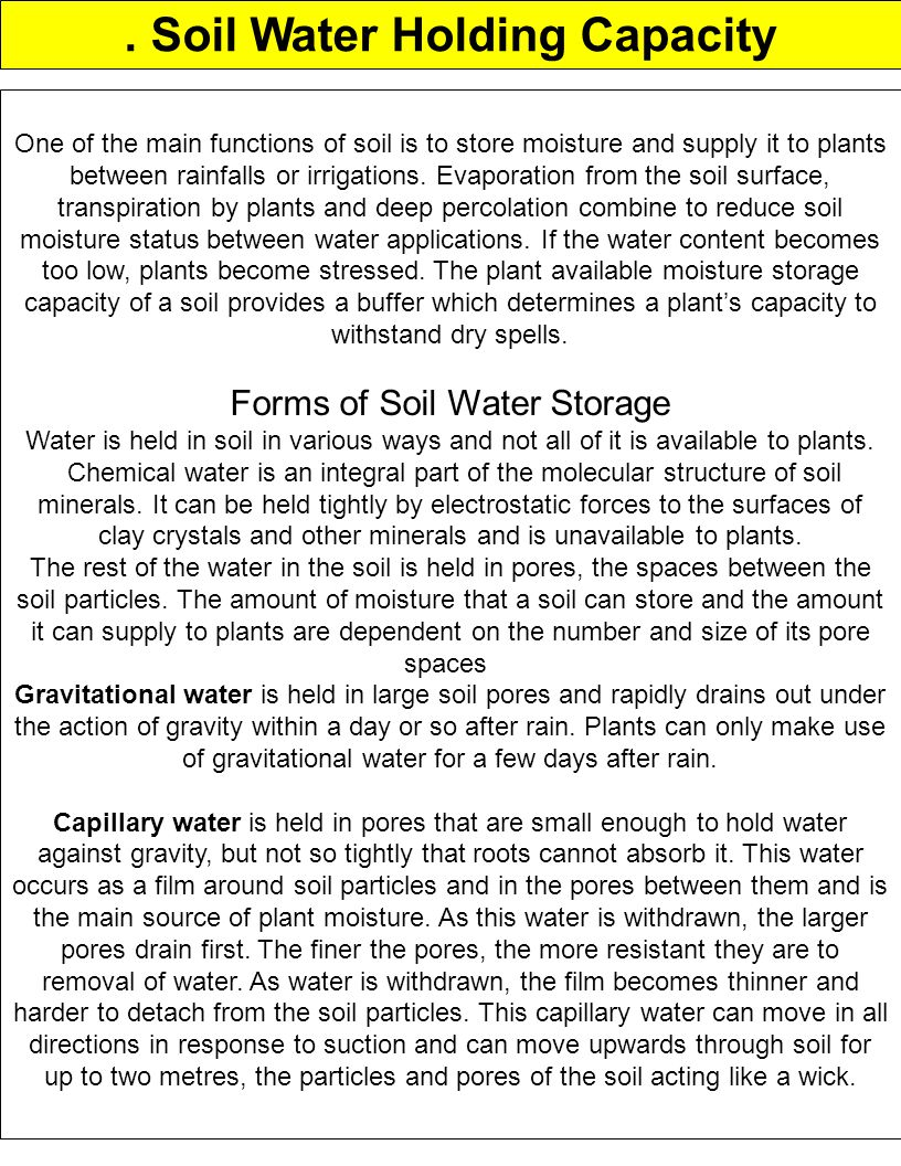 . Soil Water Holding Capacity