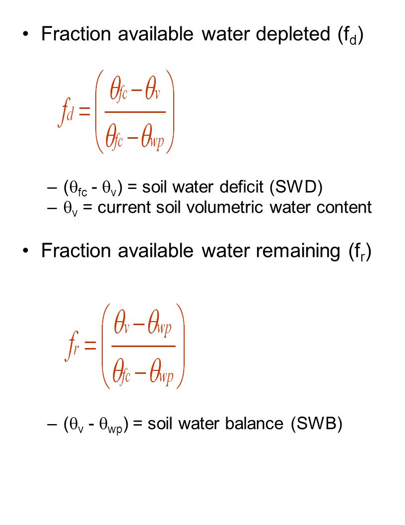 Fraction available water depleted (fd)
