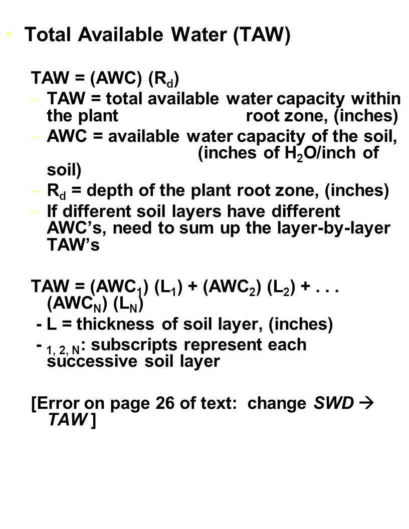 Total Available Water (TAW)