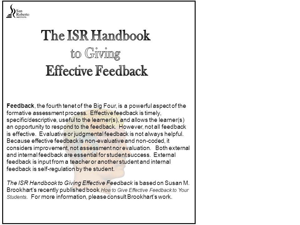 The ISR Handbook to Giving Effective Feedback