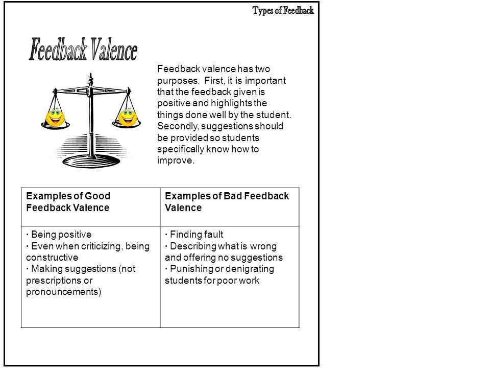 Types of Feedback Feedback Valence.