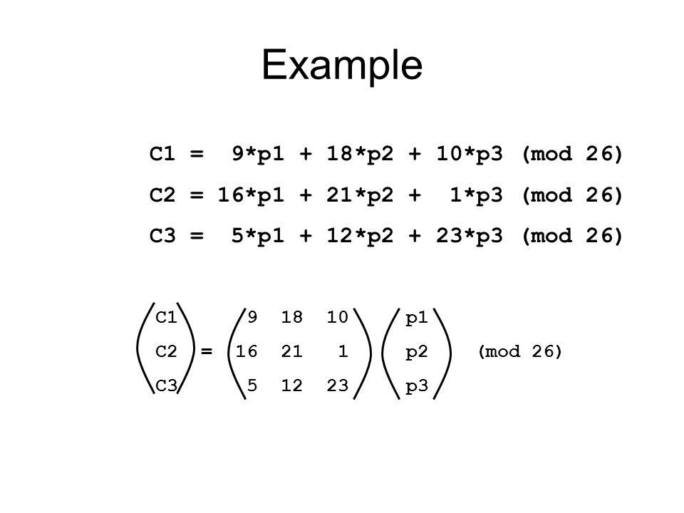 Example C1 = 9*p1 + 18*p2 + 10*p3 (mod 26)