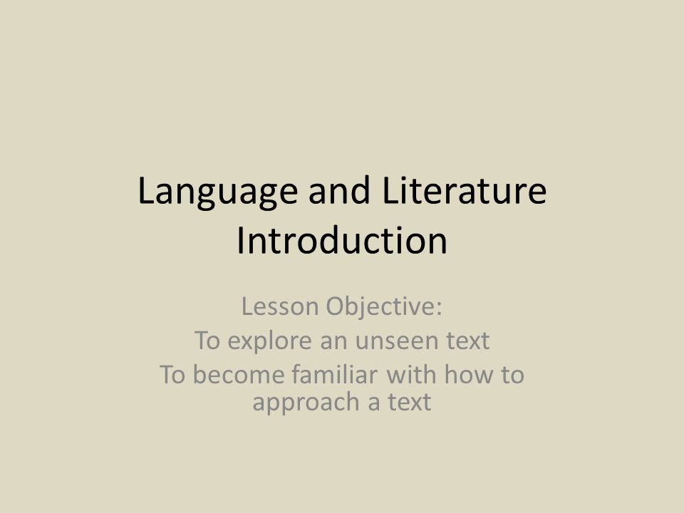 Language and Literature Introduction