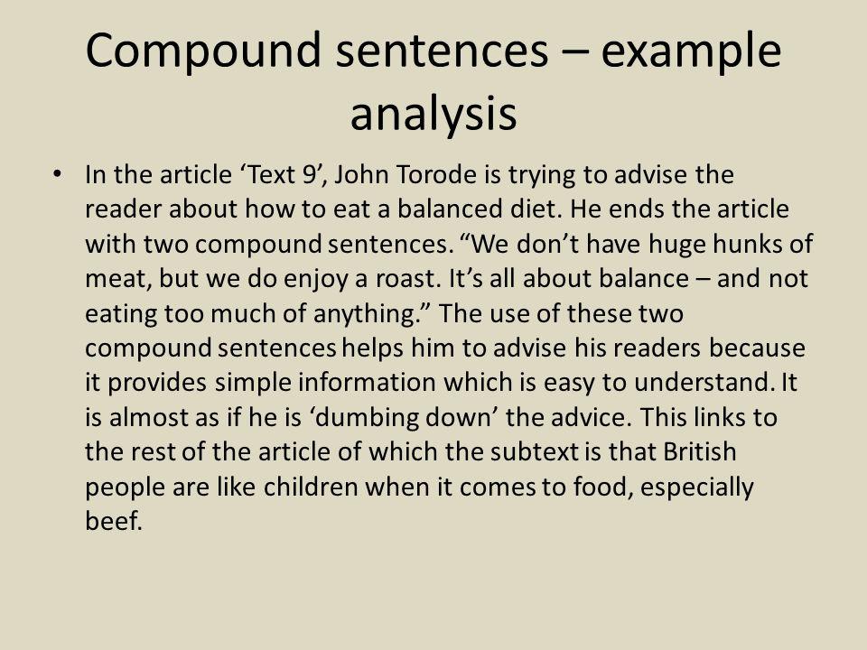 Compound sentences – example analysis