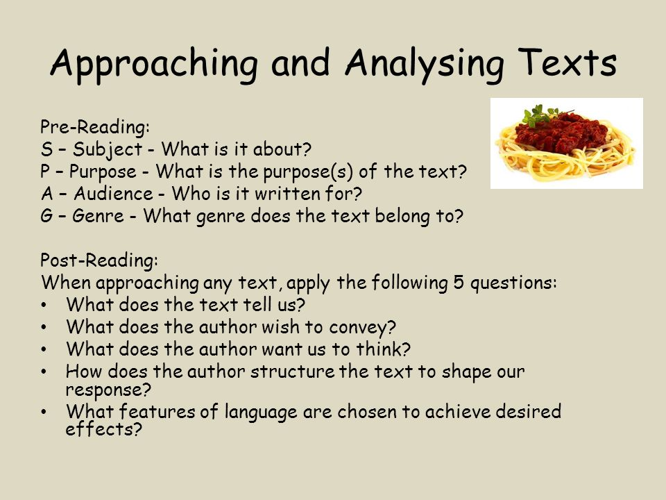 Approaching and Analysing Texts