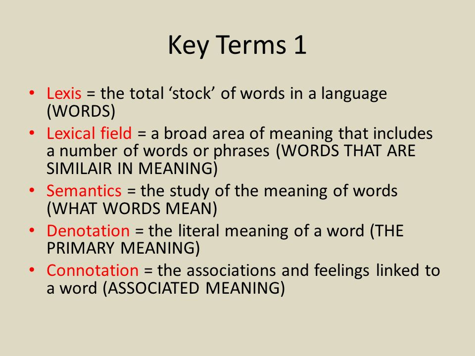 Key Terms 1 Lexis = the total 'stock' of words in a language (WORDS)