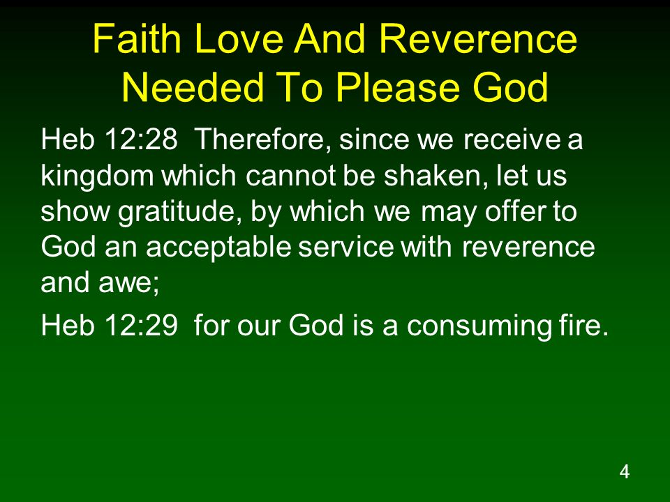 Faith Love And Reverence Needed To Please God