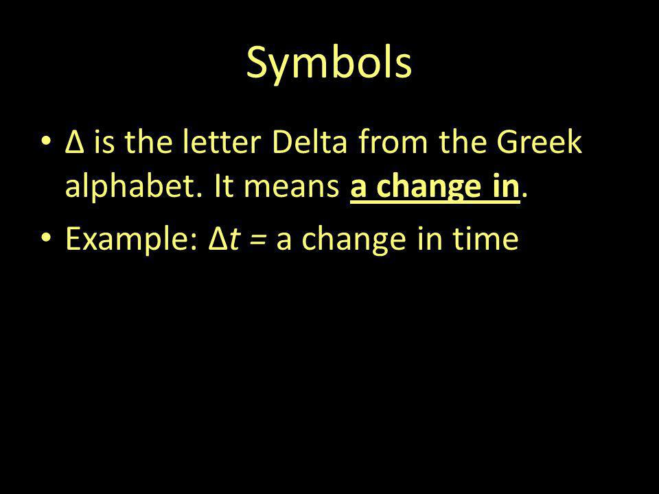 Symbols Δ is the letter Delta from the Greek alphabet.