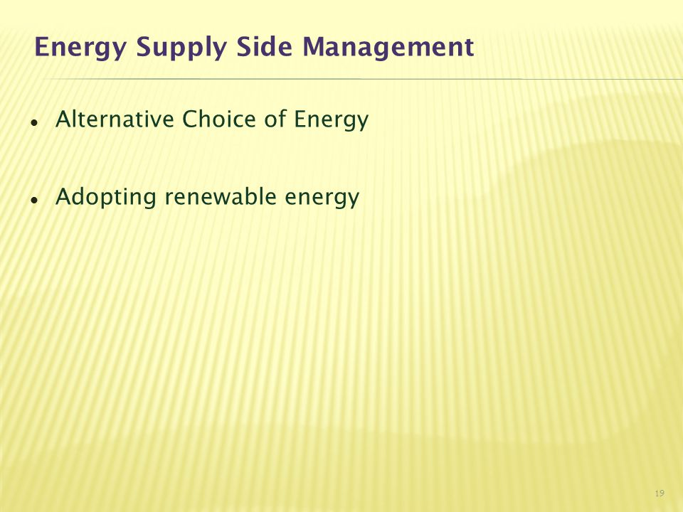 Energy Supply Side Management