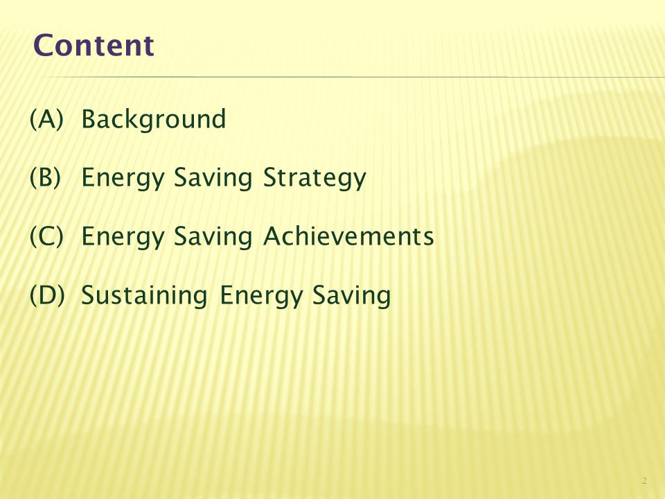 Content (A) Background (B) Energy Saving Strategy (C) Energy Saving Achievements (D) Sustaining Energy Saving