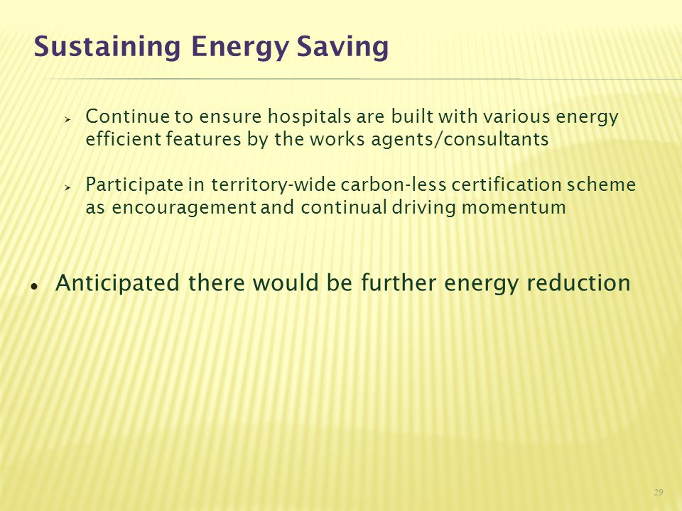 Sustaining Energy Saving