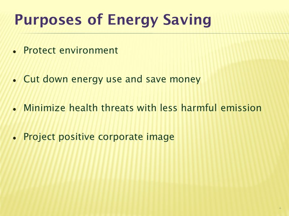 Purposes of Energy Saving