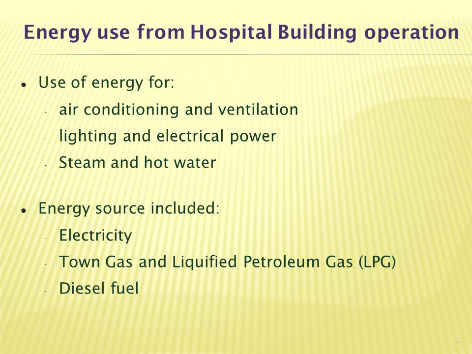 Energy use from Hospital Building operation