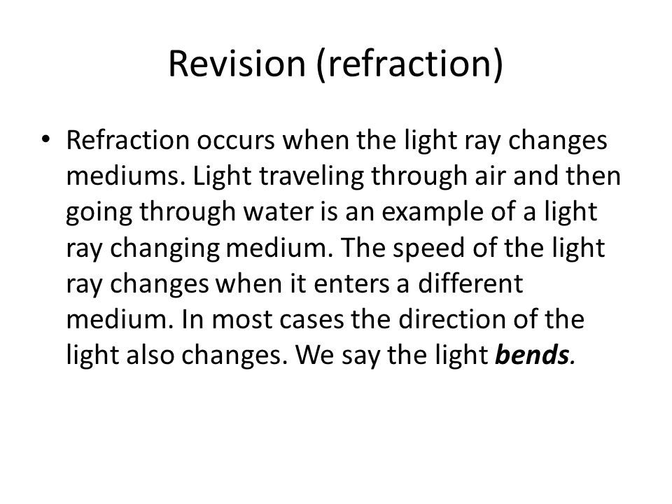 Revision (refraction)