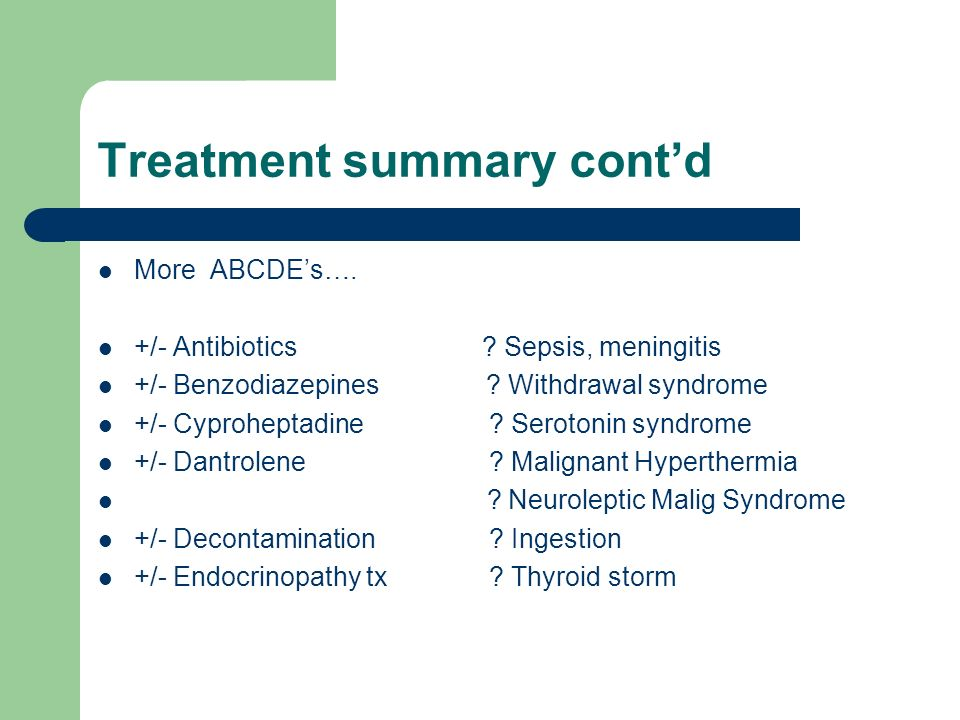 Treatment summary cont'd