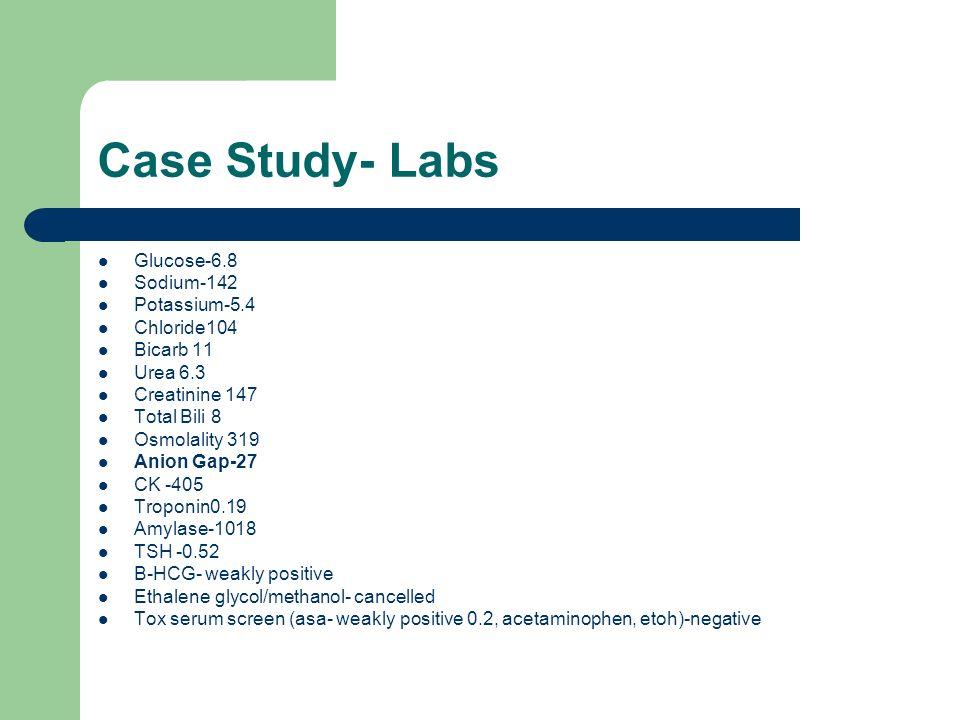 Case Study- Labs Glucose-6.8 Sodium-142 Potassium-5.4 Chloride104