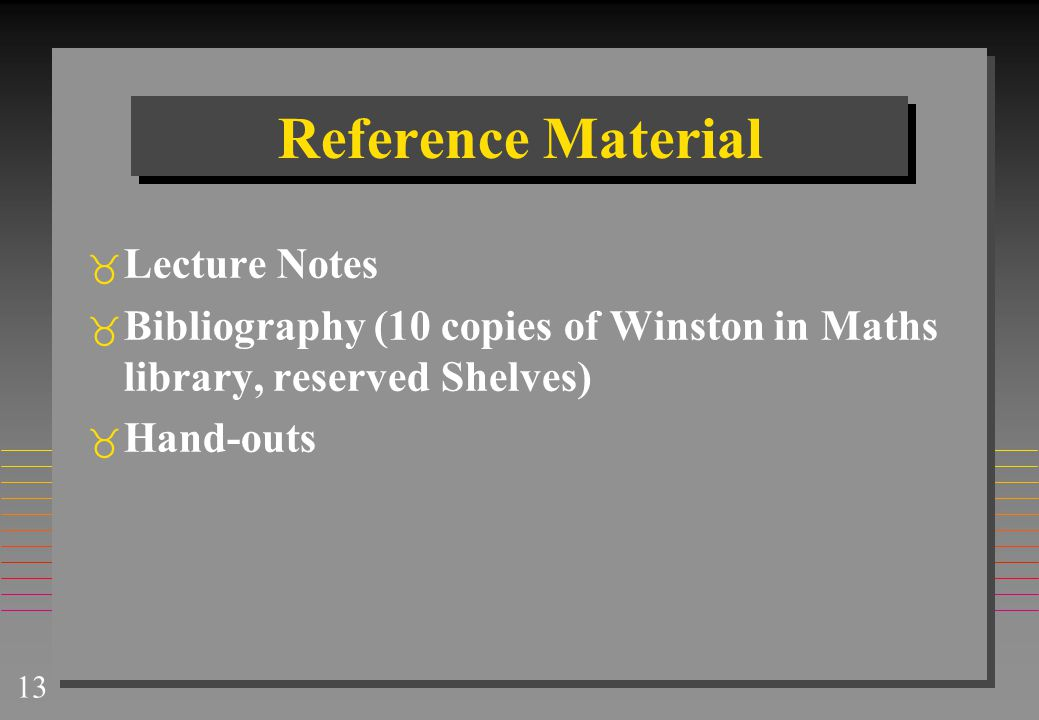Reference Material Lecture Notes