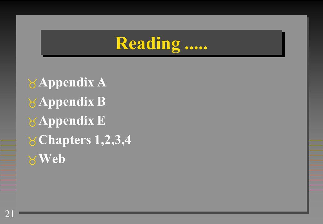 Reading ..... Appendix A Appendix B Appendix E Chapters 1,2,3,4 Web