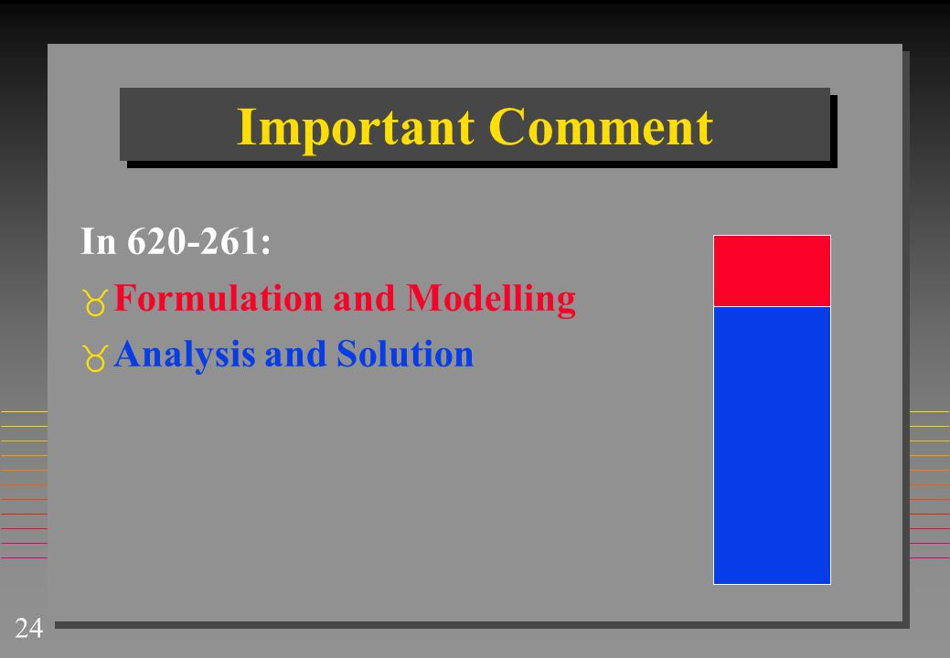 Important Comment In 620-261: Formulation and Modelling
