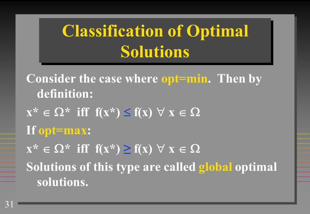 Classification of Optimal Solutions