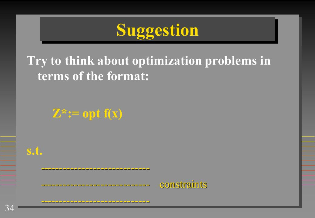 Suggestion Try to think about optimization problems in terms of the format: Z*:= opt f(x) s.t. -----------------------------