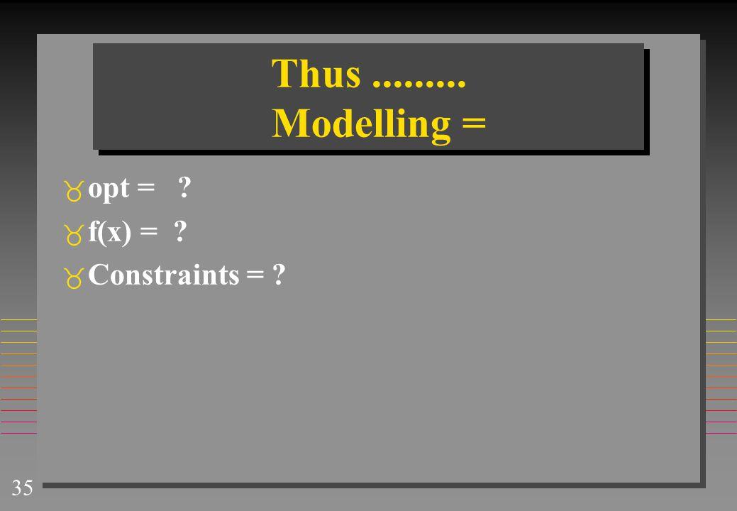 Thus ......... Modelling = opt = f(x) = Constraints =