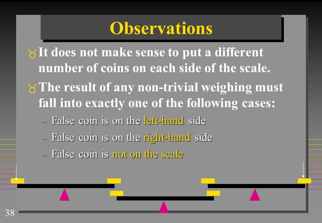 Observations It does not make sense to put a different number of coins on each side of the scale.