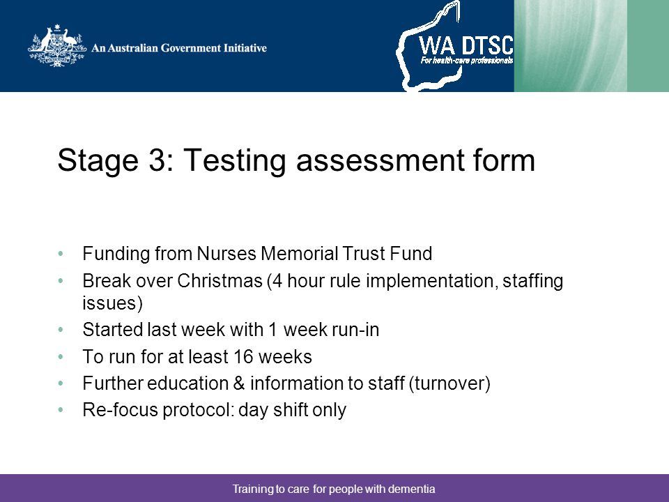 Stage 3: Testing assessment form
