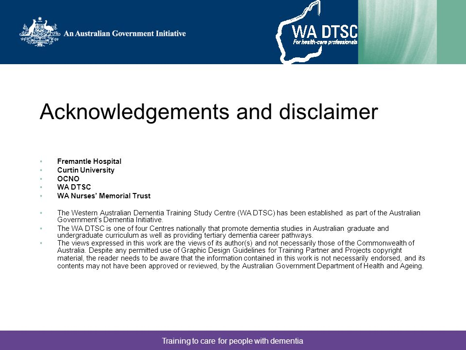 Acknowledgements and disclaimer
