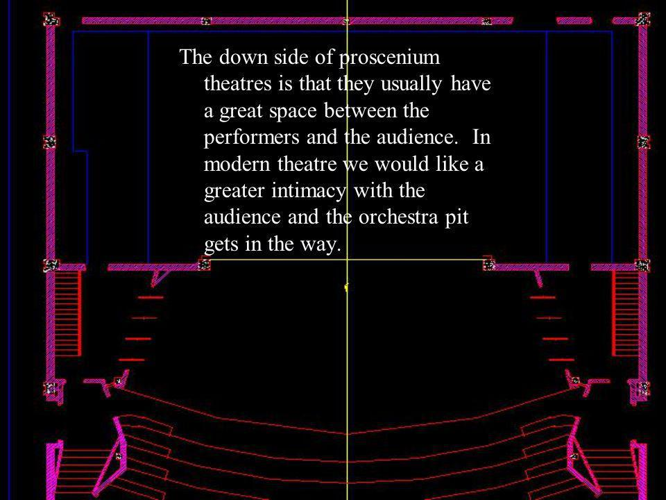 The down side of proscenium theatres is that they usually have a great space between the performers and the audience.