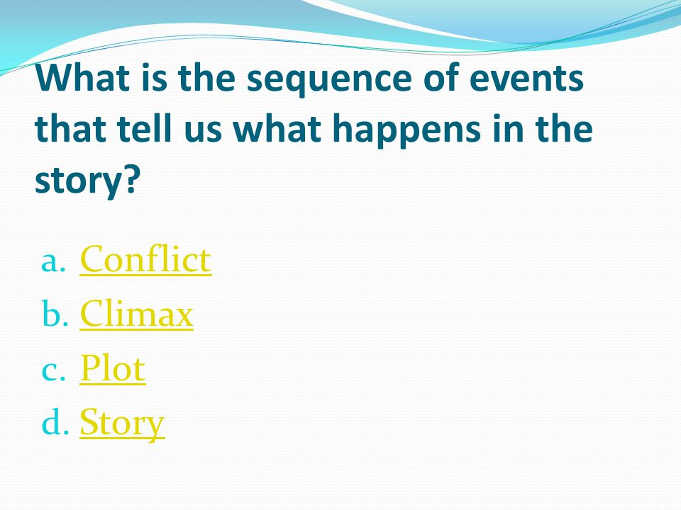 What is the sequence of events that tell us what happens in the story