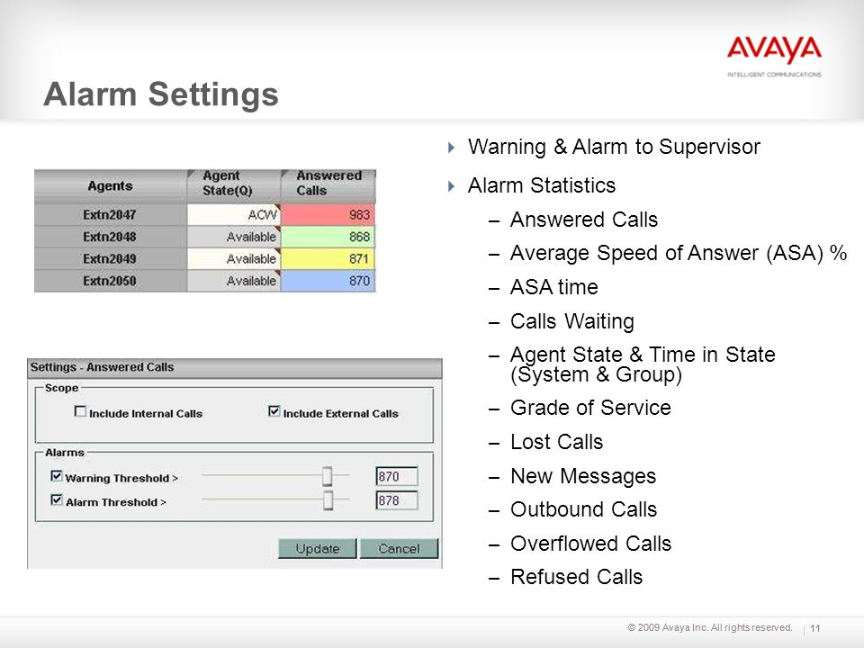 Alarm Settings Warning & Alarm to Supervisor Alarm Statistics